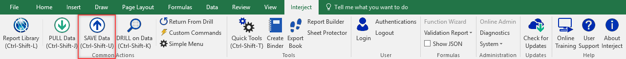 Interject ribbon save button